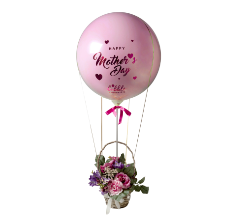 Luxury Mother's Day Hot Air Balloon Flower Basket Pastel Pink image
