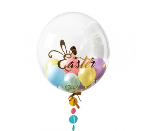 Happy Easter Multi Bubble with Multi coloured balloon tail image