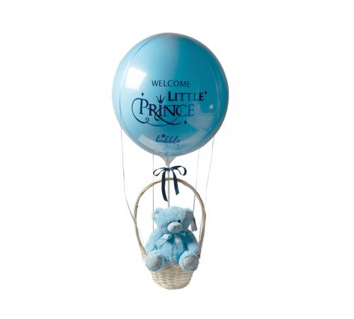 Welcome Little Prince Luxury Hot Air Balloon Basket with Baby Boy Soft toy image